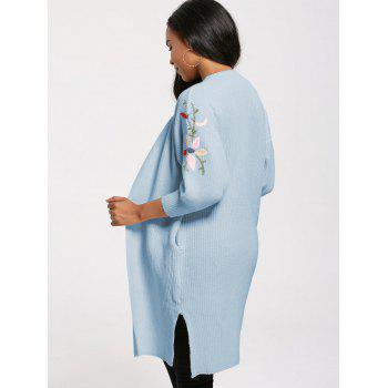 Open Front Flower Embroidery Long Cardigan - WINDSOR BLUE ONE SIZE