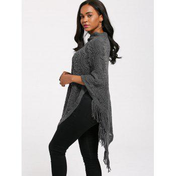 Fringed Crochet Asymmetrical Knit Poncho - GRAY ONE SIZE