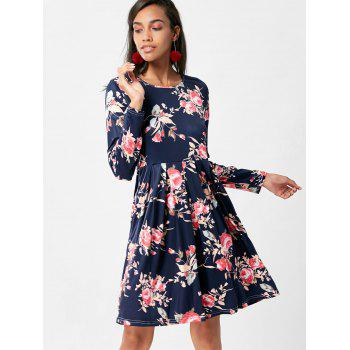 Floral Swing Dress with Long Sleeve - PURPLISH BLUE XL