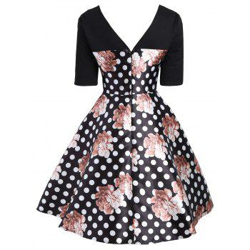 Sweetheart Floral Polka Dot Dress - COLORMIX 2XL