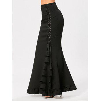 Criss Cross Side Ruffles Maxi Mermaid Skirt