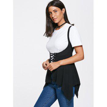 Asymmetrical Lace Up Corset Top - XL XL