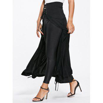 High Waisted Lace Up Front Slit Maxi Skirt - BLACK M