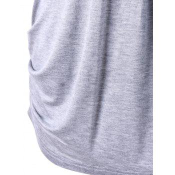 Scoop Neck Ruched Top - LIGHT GRAY XL