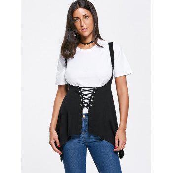 Asymmetrical Lace Up Corset Top - BLACK BLACK