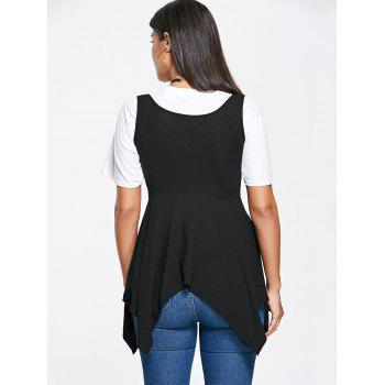 Asymmetrical Lace Up Corset Top - BLACK 2XL