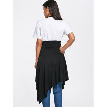 Lace Up High Slit Handkerchief Midi Skirt - BLACK M