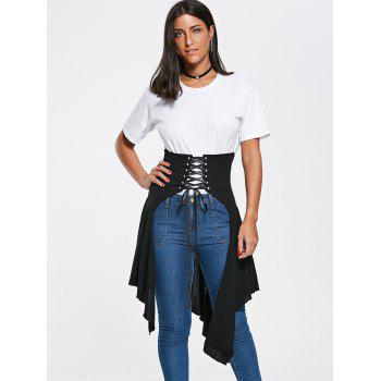 Lace Up High Slit Handkerchief Midi Skirt - BLACK BLACK
