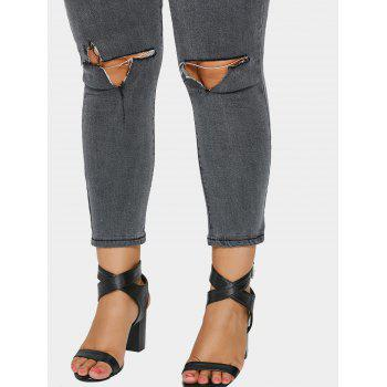 Zip Fly Plus Size Ripped Jeans - GRAY GRAY