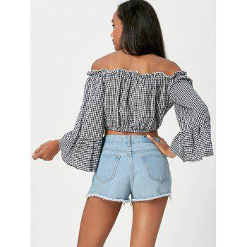 Gingham Off The Shoulder Crop Top - BLACK S