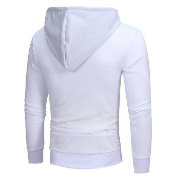 Oblique Color Block Zippers Fleece Hoodie - WHITE L