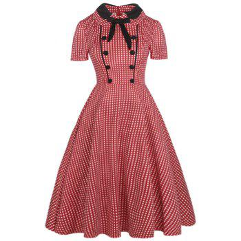 Vintage Bowknot Buttons Embellished Dress - RED RED