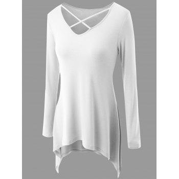 Plus Size Criss Cross Asymmetrical T-shirt - WHITE 3XL