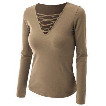 Plus Size Criss Cross V Neck Tee - CAMEL 2XL