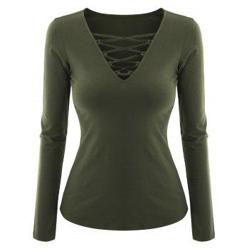 Plus Size Criss Cross V Neck Tee - BLACKISH GREEN BLACKISH GREEN