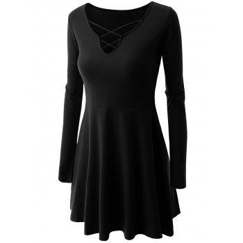 Criss Cross Skirted Plus Size Tee - BLACK 4XL