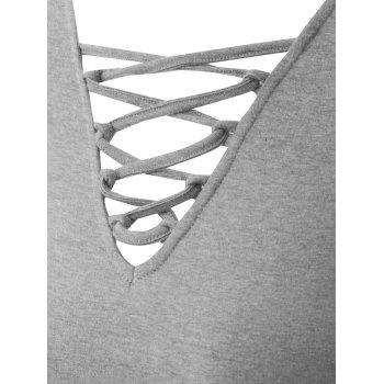 Plus Size Criss Cross V Neck Tee - GRAY 2XL
