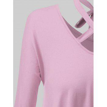 Plus Size Criss Cross High Low Tee - PINK XL