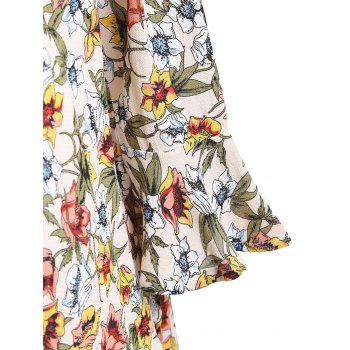 Plus Size Chiffon Floral Cold Shoulder Blouse - FLORAL 5XL