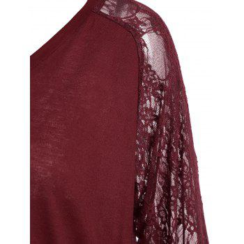 Plus Size Sheer Lace Sleeve Asymmetric T-shirt - WINE RED XL