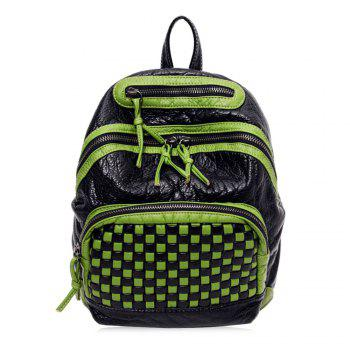 Plaid Pattern Textured Leather Backpack - GREEN GREEN