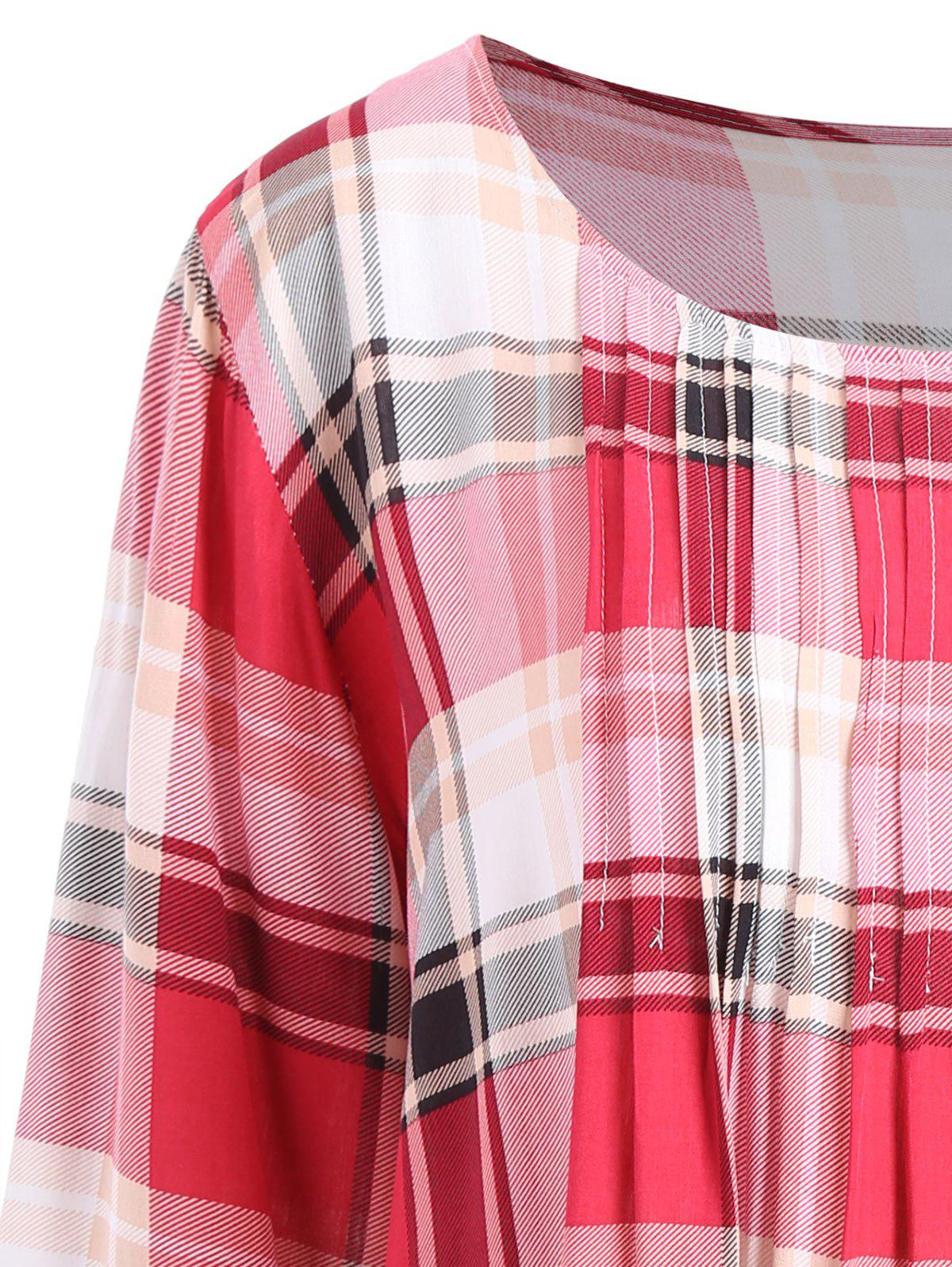 Plus Size Checked Pleated Blouse - CHECKED 5XL