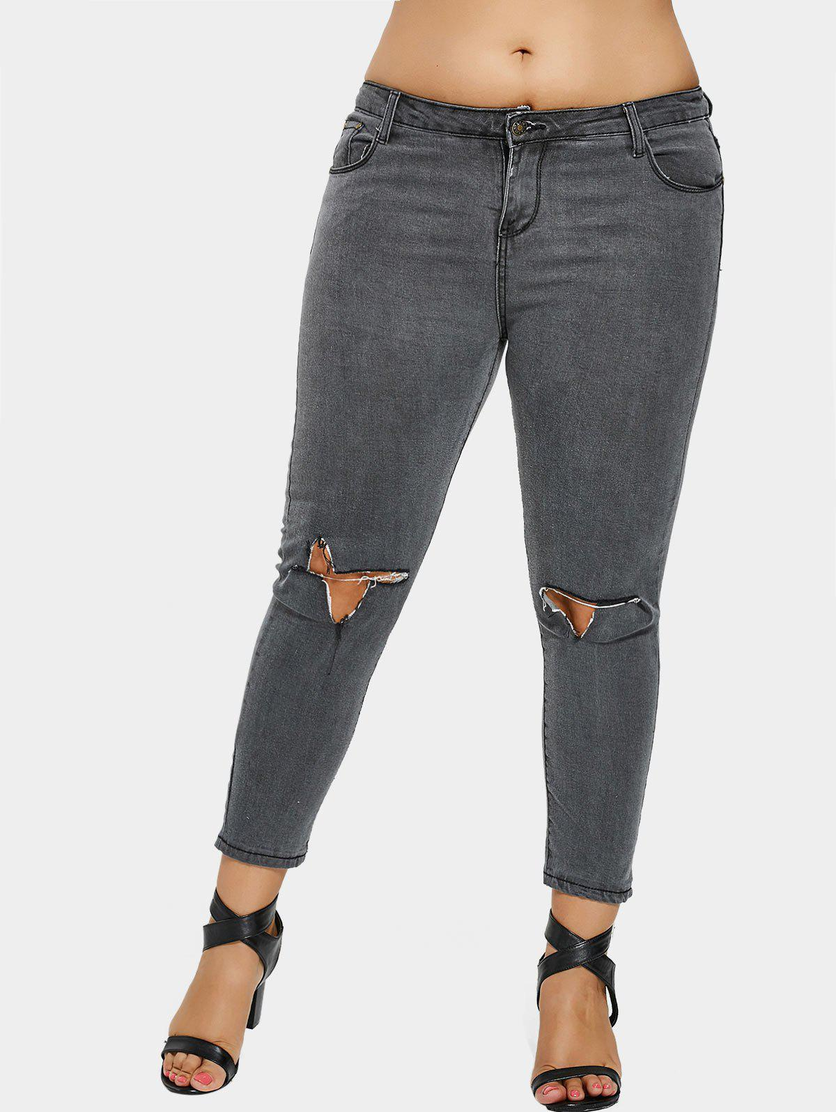 Zip Fly Plus Size Ripped Jeans - GRAY 3XL