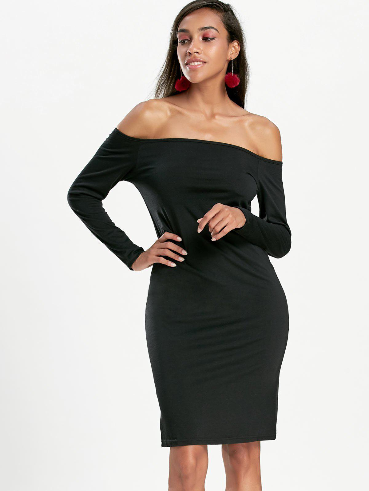 Long Sleeve Off The Shoulder Bodycon Dress - BLACK XL