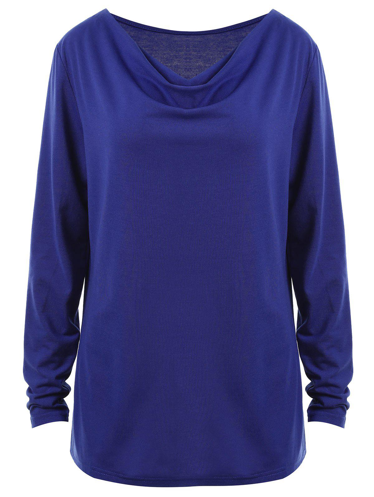 Plus Size Cowl Neck Long Sleeve Tee - BLUE 2XL