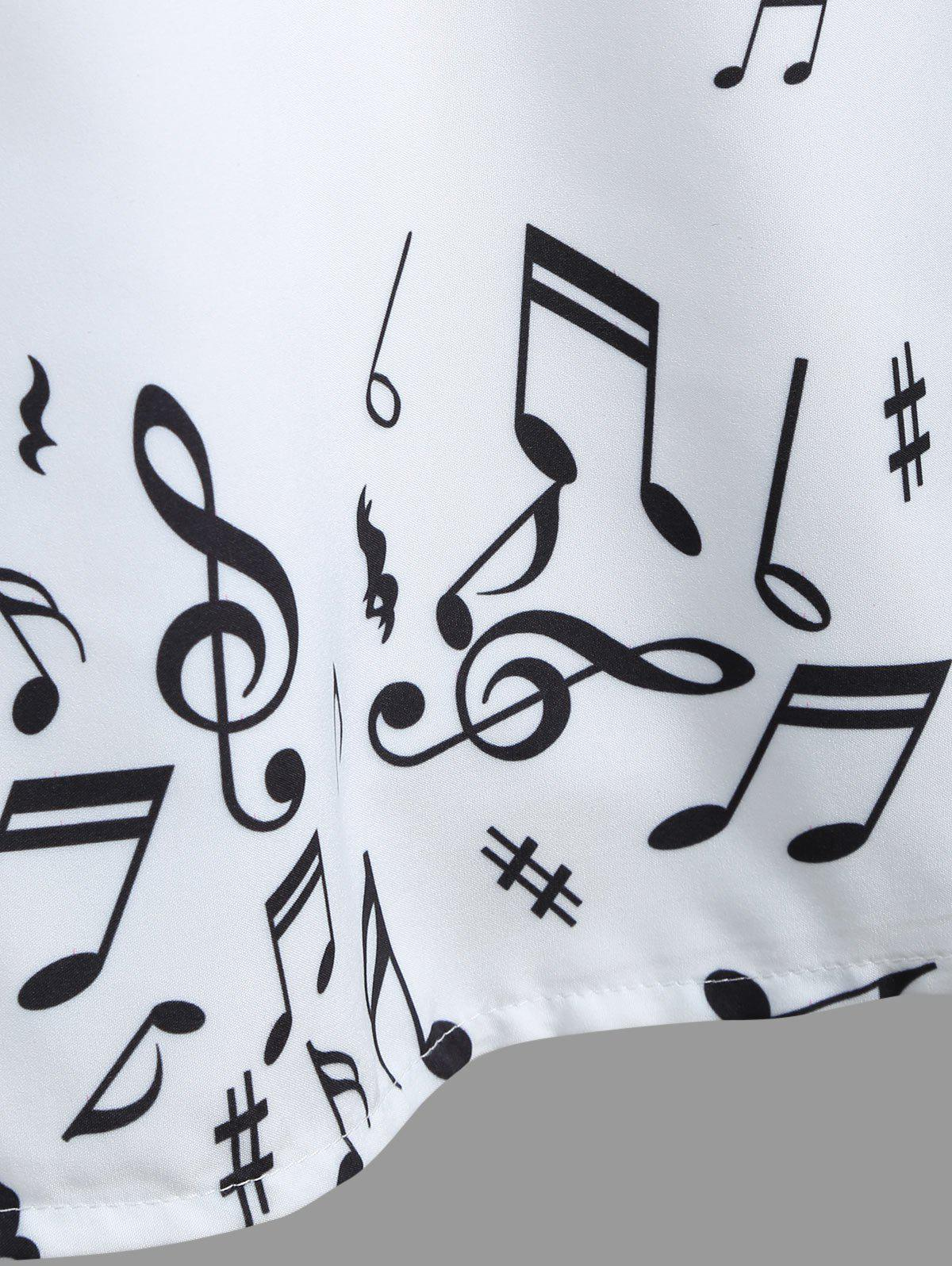 Vintage Musical Notes Print A Line Dress - WHITE M