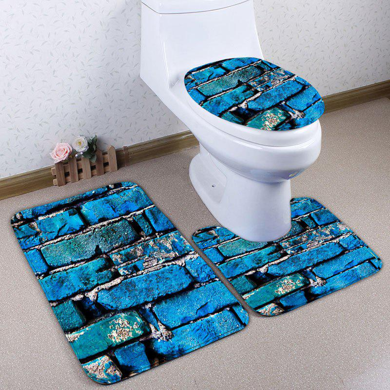 3Pcs Flannel Brick Printed Toilet Mats Set - Bleu