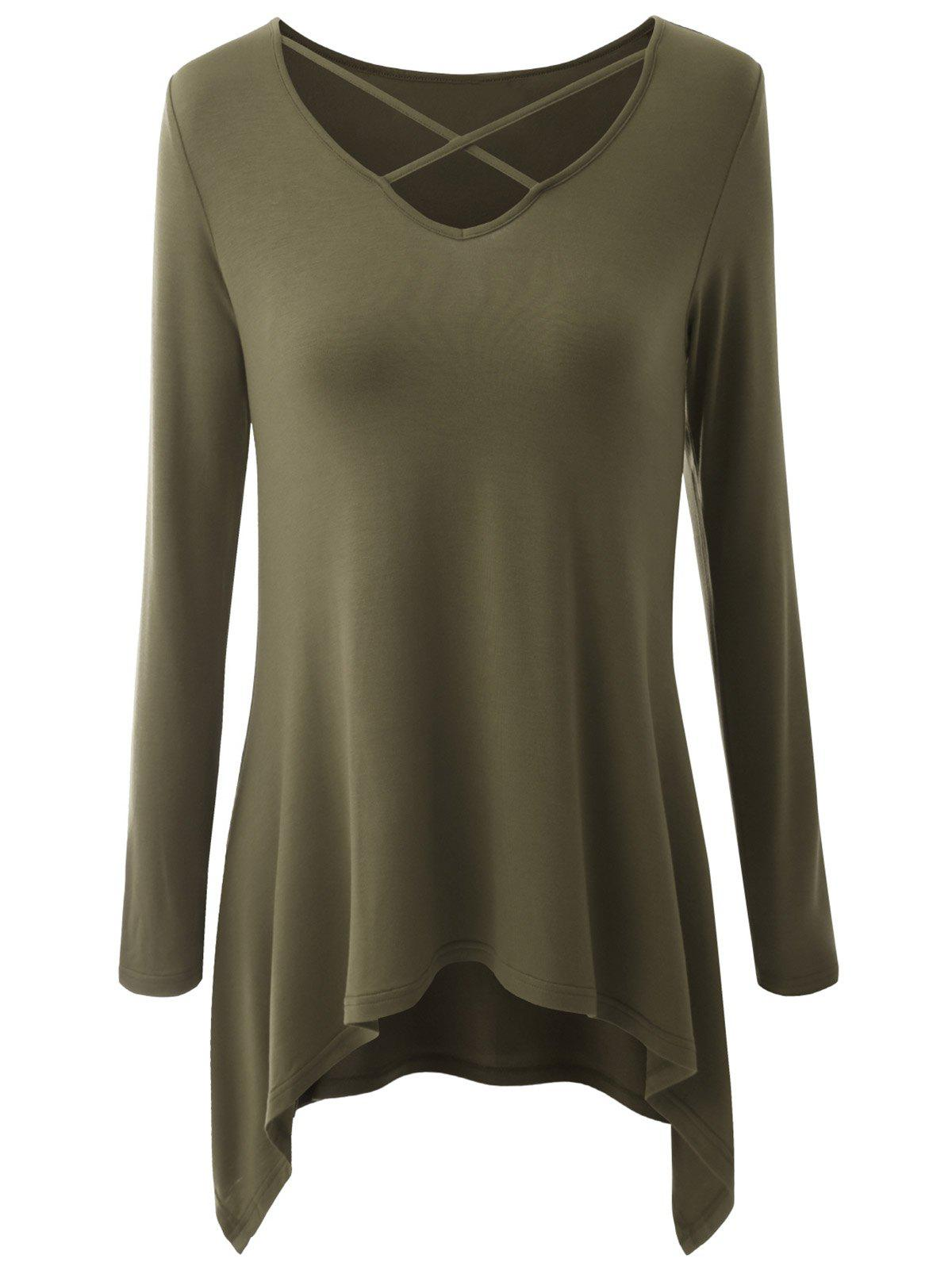 Plus Size Criss Cross Asymmetrical T-shirt - ARMY GREEN XL