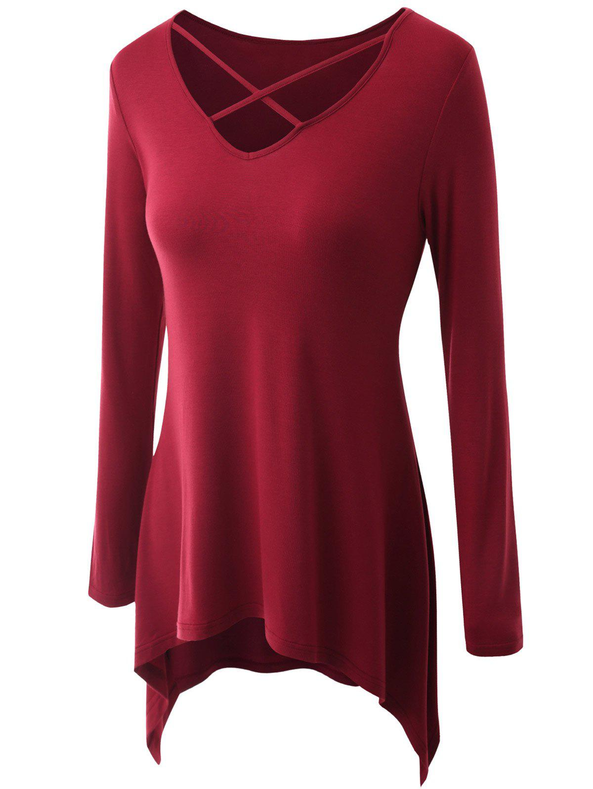Plus Size Criss Cross Asymmetrical T-shirt - WINE RED 2XL