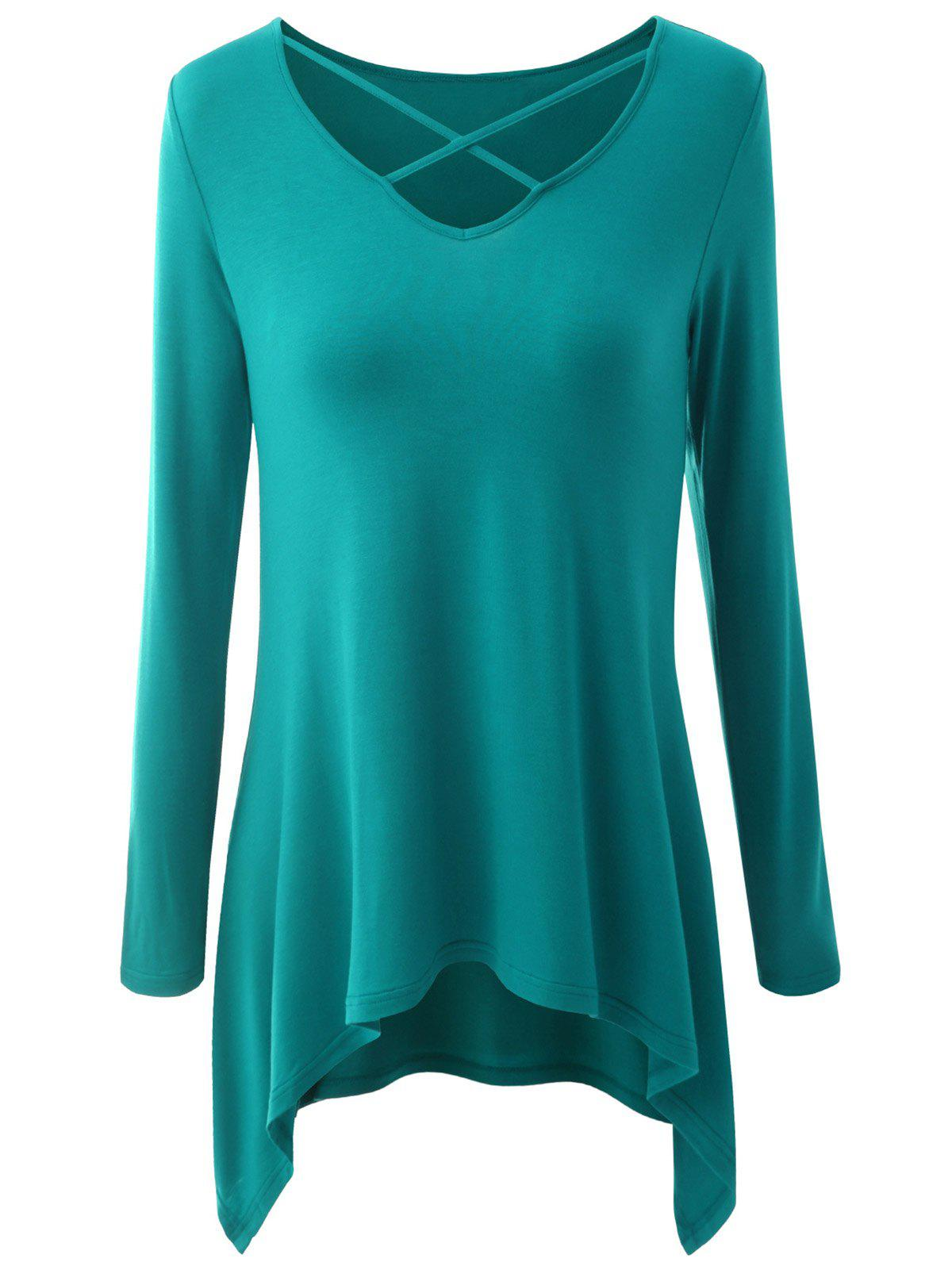 Plus Size Criss Cross Asymmetrical T-shirt - EMERALD 2XL