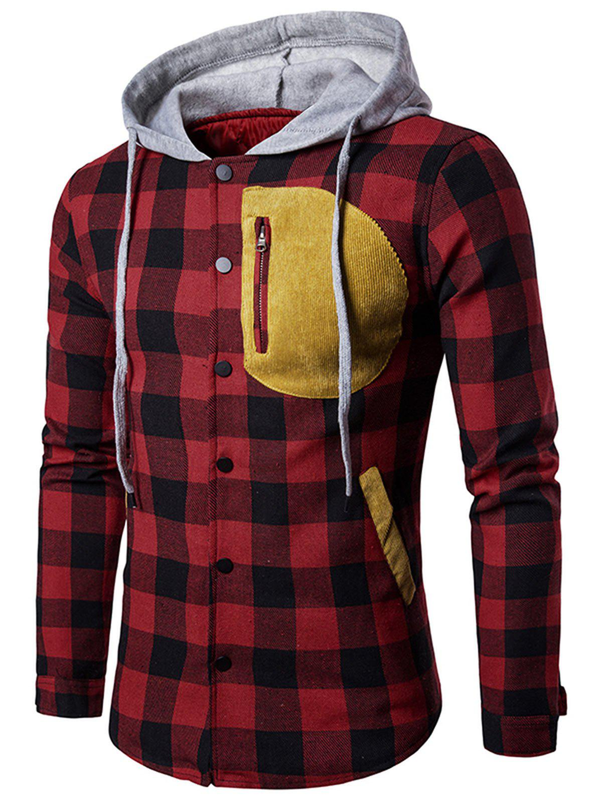 Color Block Tartan Plaid Hoodie цена и фото