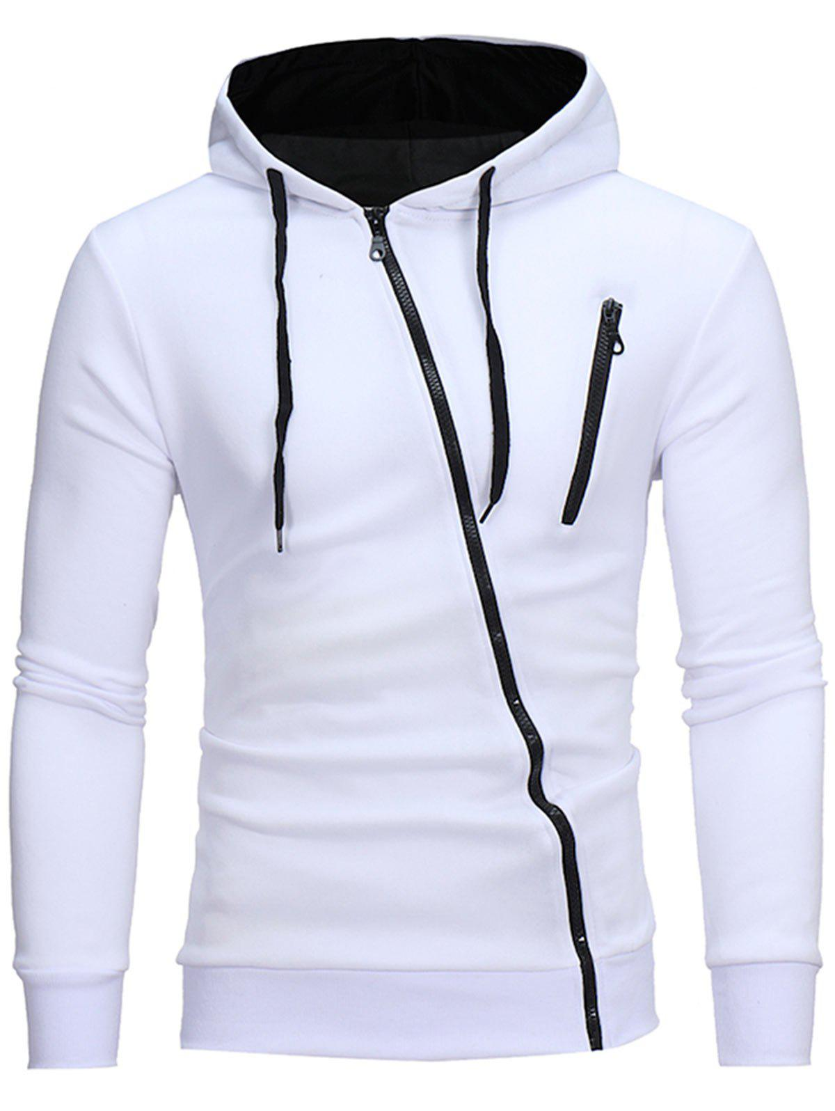 colorful sweatshirt 2018 oblique color block zippers fleece hoodie white l in 787