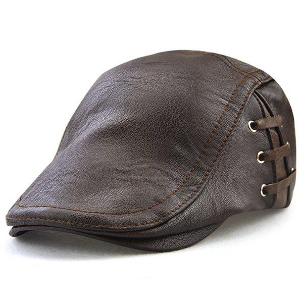 Lace Up Embellished Faux Leather Flat Hat - ESPRESSO