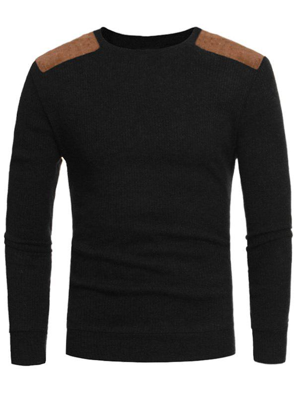 Suede Panel Ribbed Elbow Patch Sweater suede panel elbow patch ribbed sweater