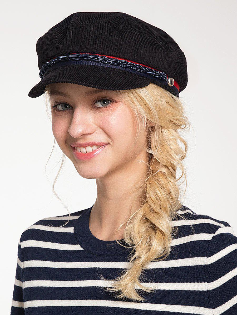 Pinstriped Woven Rope Embellished Beret Hat - BLACK
