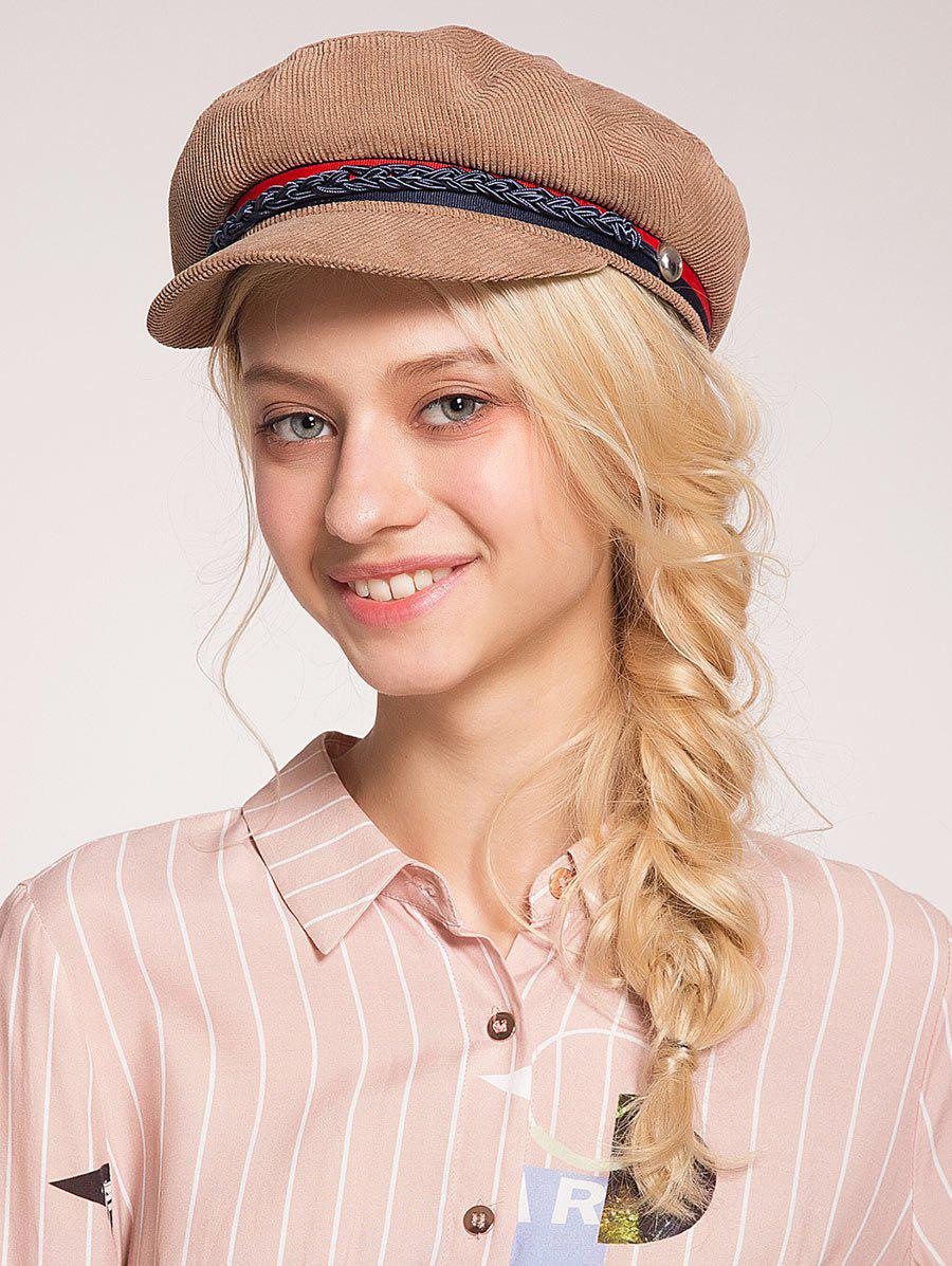 Pinstriped Woven Rope Embellished Beret Hat - KHAKI