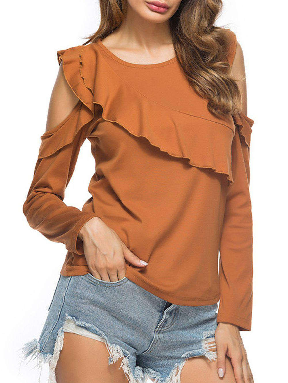 Cold Shoulder Ruffled T-shirt - EARTHY M