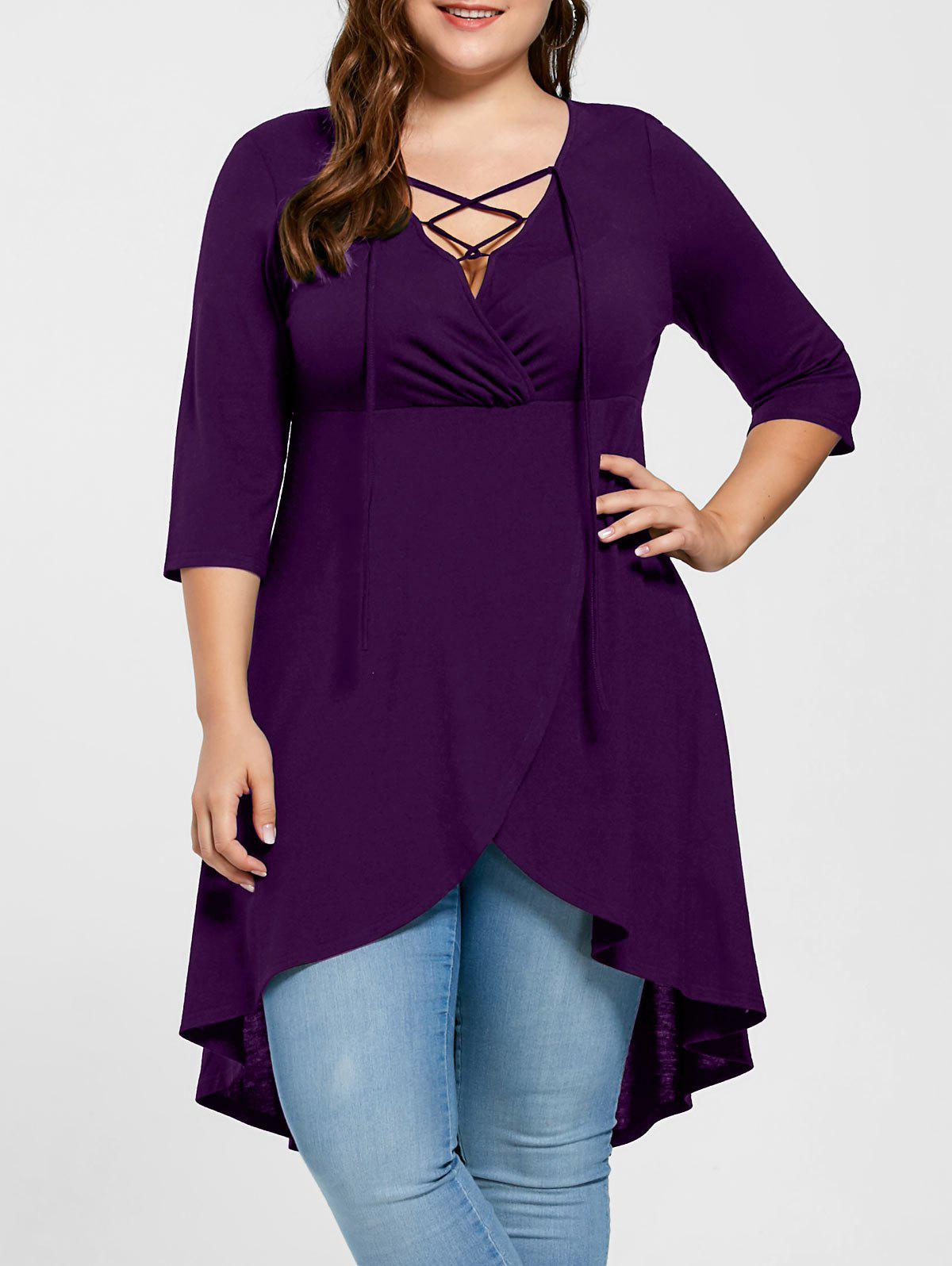 Plus Size Lace Up High Low Hem Top - PURPLE 5XL