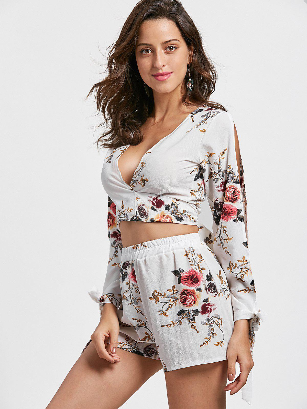 Split Sleeve Floral Crop Top with Shorts - WHITE M