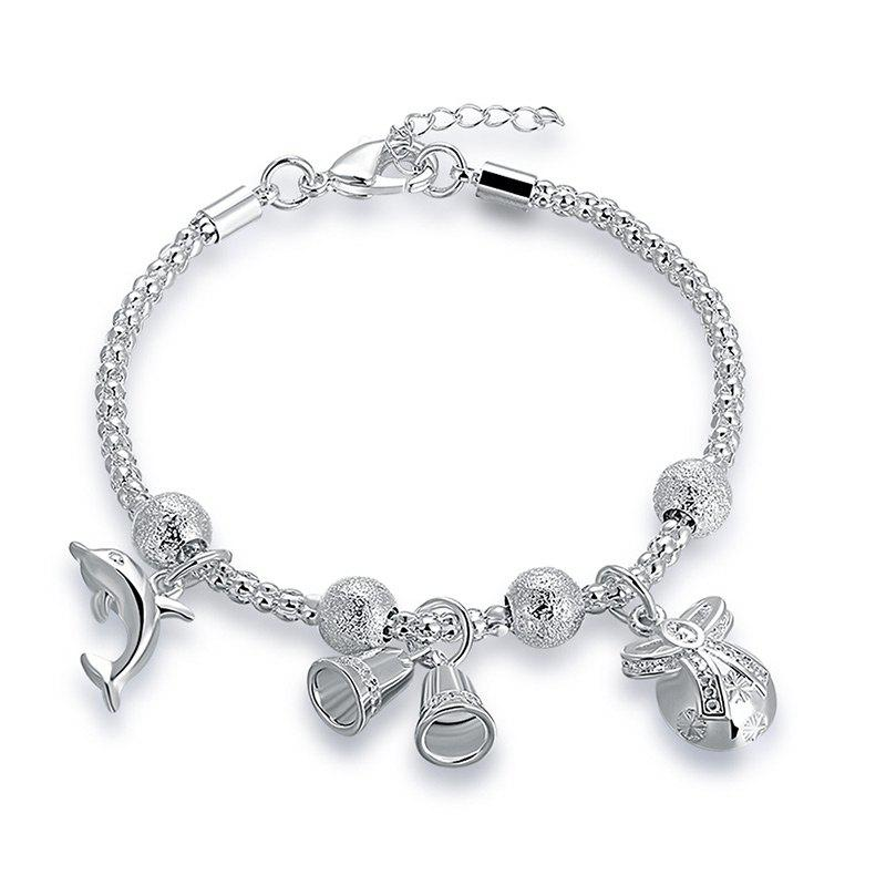 Dolphin Christmas Bell Charm Chain Bracelet - Argent