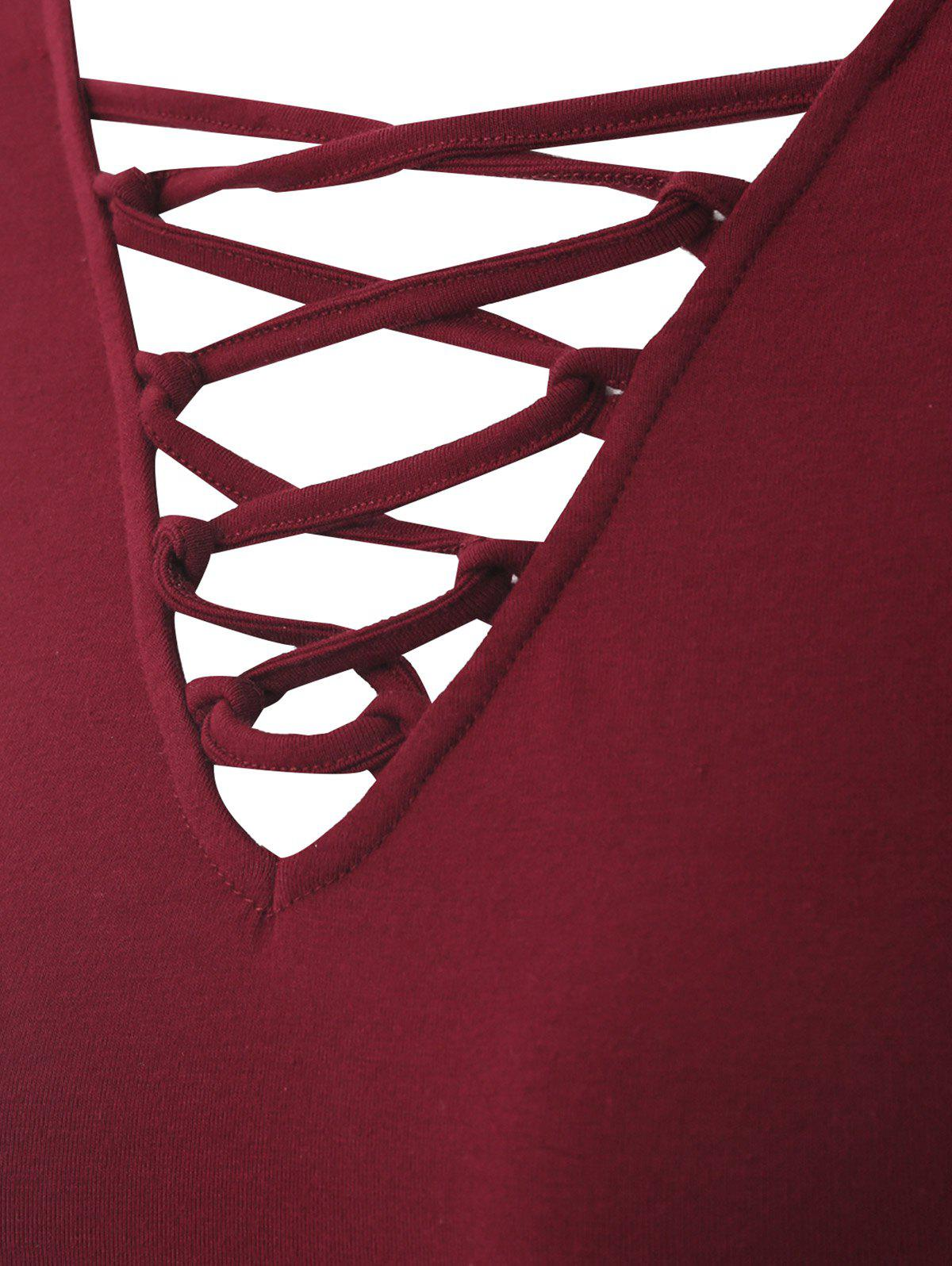 Plus Size Criss Cross V Neck Tee - WINE RED 2XL