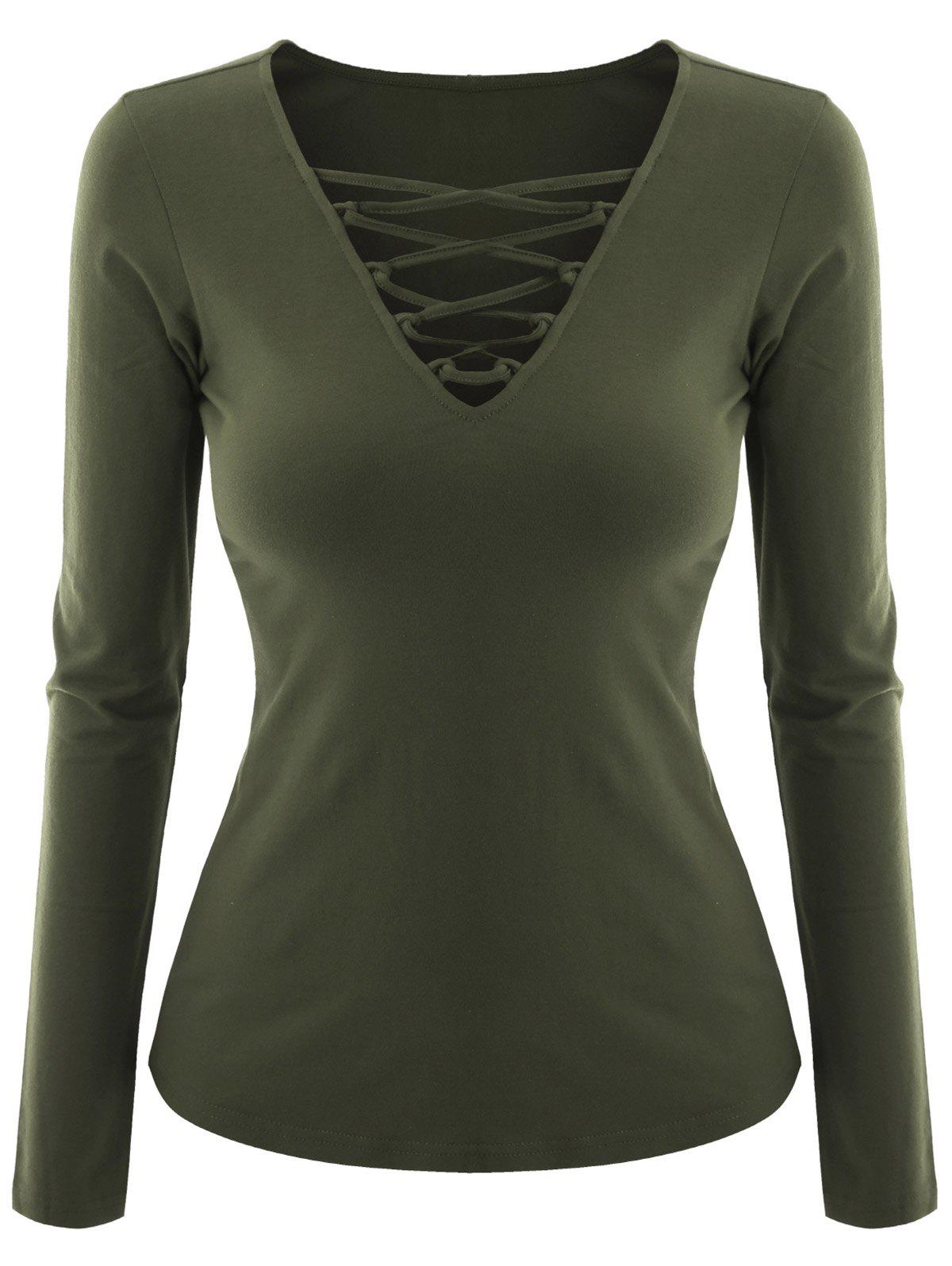 Plus Size Criss Cross V Neck Tee - BLACKISH GREEN 2XL