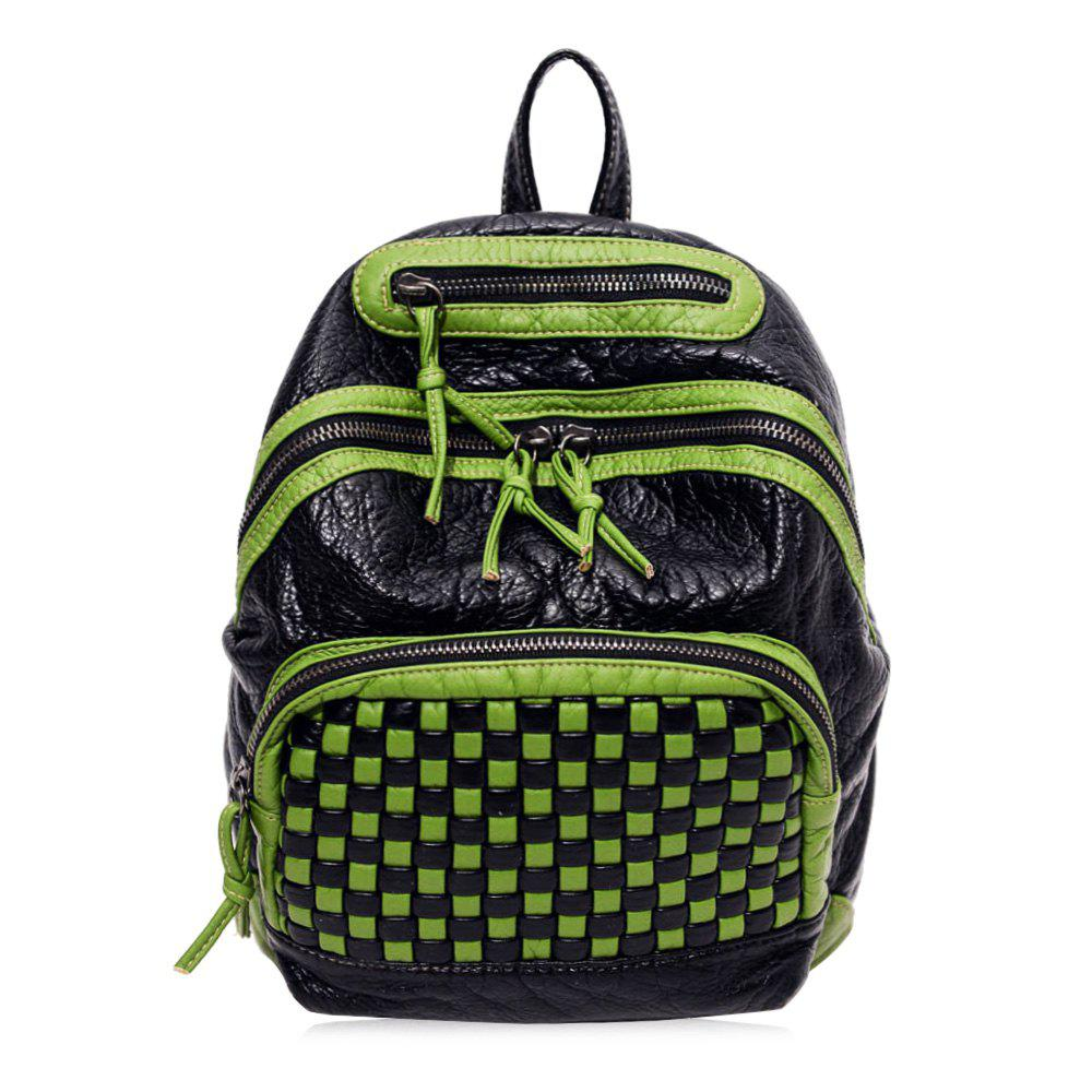 Plaid Pattern Textured Leather Backpack - GREEN