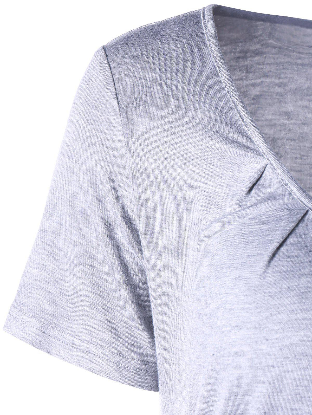 Scoop Neck Ruched Top - LIGHT GRAY L