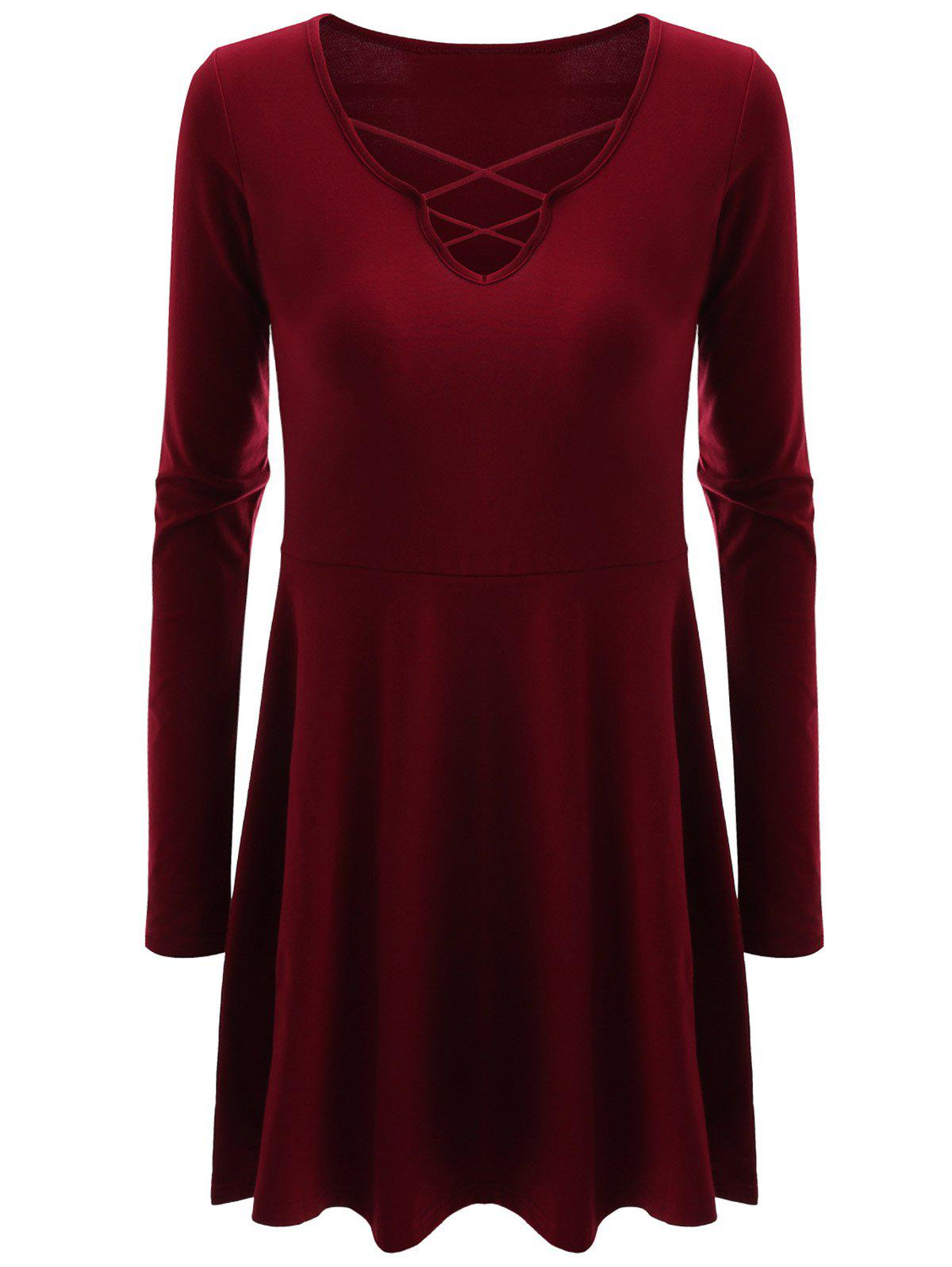 Criss Cross Skirted Plus Size Tee - WINE RED 2XL