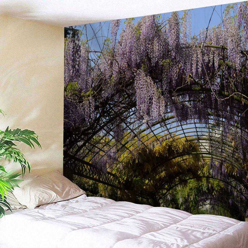 Pergola Wistaria Flowers Print Tapestry Wall Hanging Art - multicolorcolore W79 INCH * L71 INCH